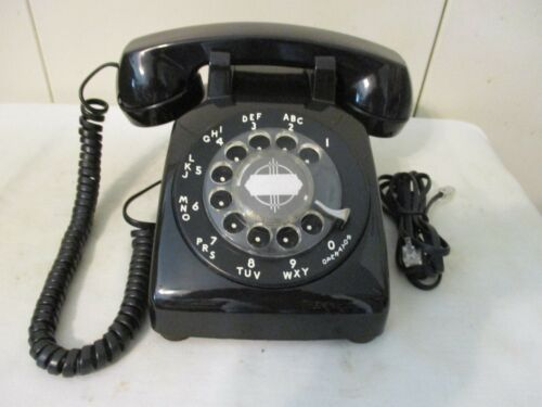 Vintage Rotary Dial Desk Telephone Western Electric  Works! Black