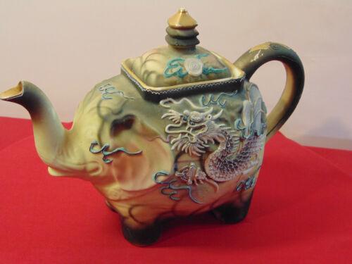 VINTAGE JAPANESE MORIAGE GILDED SATSUMA HAND PAINTED ELEPHANT TEAPOT TEA KETTLE