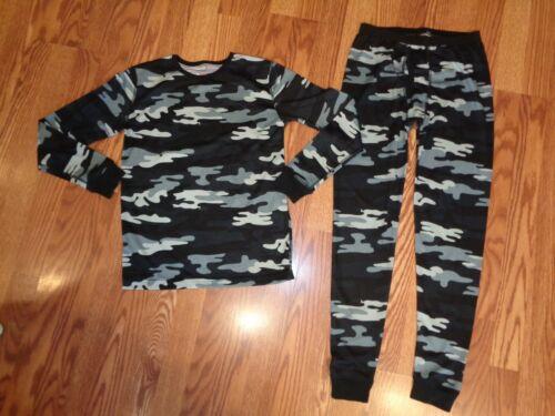 HEAT LAST BASE LAYER CREW TOP PANTS BLACK GRAY CAMO POLYESTER SOFT CUFFS L 12-14
