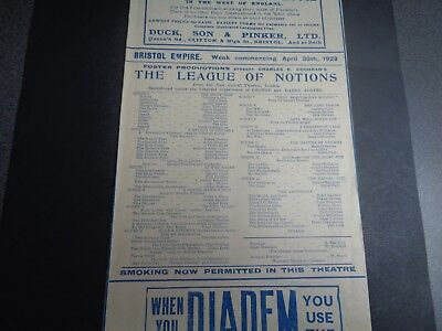 1923 The League of Notions, Bristol Empire Theatre Programme