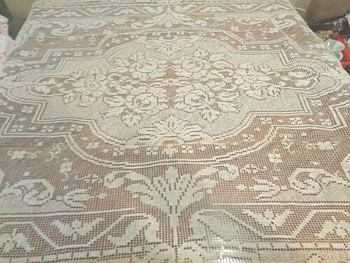 Antique Linen Needle Lace  large  Tablecloth Exceptional