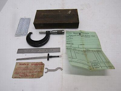 Vintage Brown Sharpe Micrometer 1-2 Original Box Paper