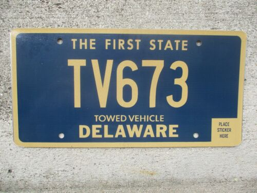 Delaware Towed Vehicle  license plate  #    TV673