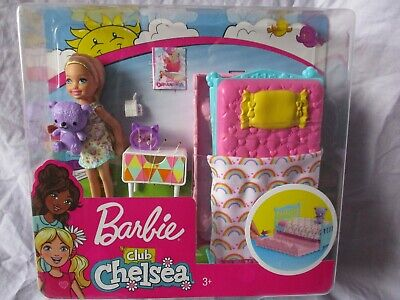 Barbie  Club Chelsea Bedtime Playset with 6 inch Blonde Doll Bed Teddy NEW
