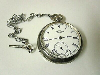 Vintage Waltham Coin Silver Pocket Watch With Key. 18s Runs