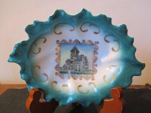 Circa 1910 Souvenir Bowl Morton Cty Court House Mandan North Dakota Wheelock #