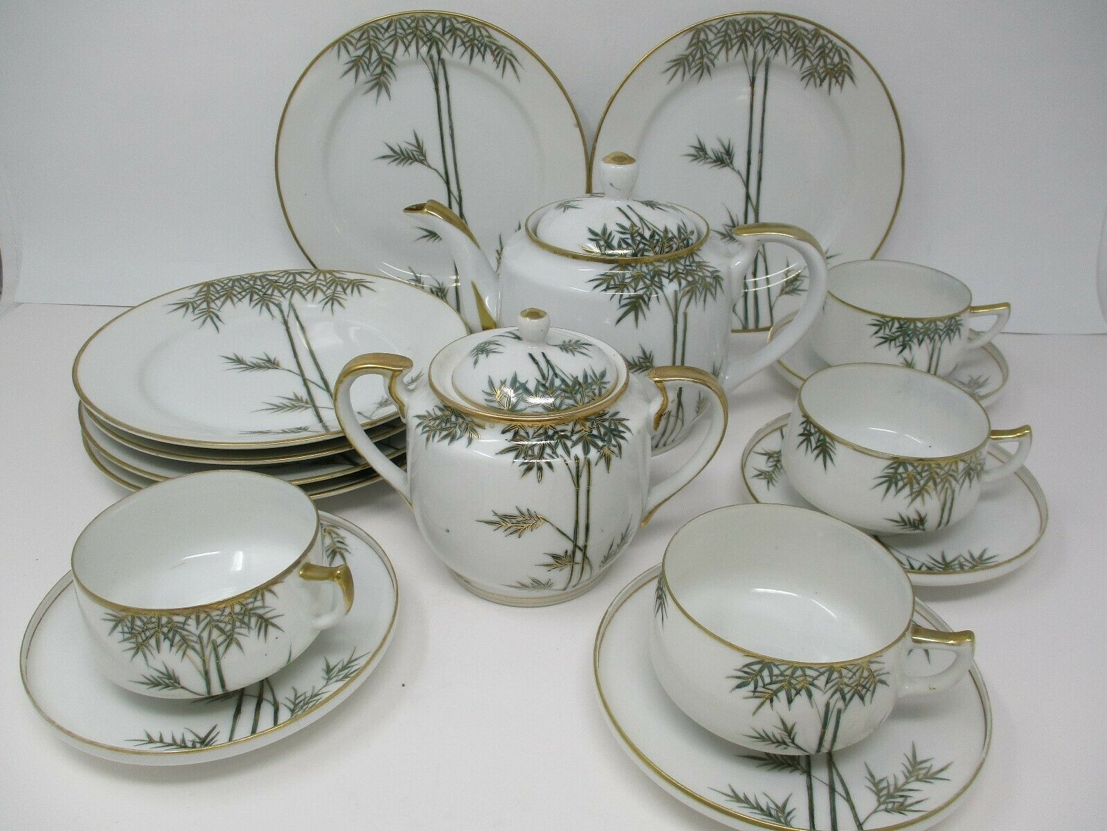 Vintage Japanese Bamboo Pattern 16 Pc Tea Set With Gold Trim