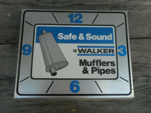 Vintage WALKER MUFFLER & PIPES Gas Station Mechanic Shop Advertising Wall Clock