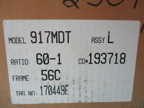NEW WINSMITH 917MDT TYPE SE SPEED REDUCER 60:1 RATIO 56C FRAME