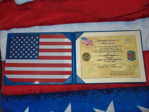 Vintage Mission Flown American Flag Iraq 1998 Flying Tigers 74th Fighter Squad