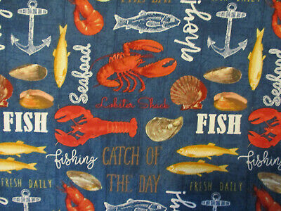 Seafood Crawfish Fish Crabs Lobster Sea Food Oysters Snack Food Cotton Fabric (Crabs Lobster)