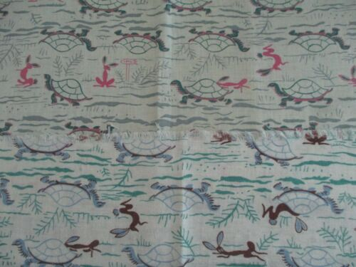 Vintage Cotton Feedsack Fabric Novelty Lot of 2 Pieces Tortoise and the Hare