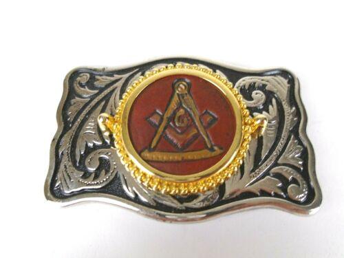 Masonic Freemason Belt Buckle Leather Embossed Emblem Ornate Clothing Mason