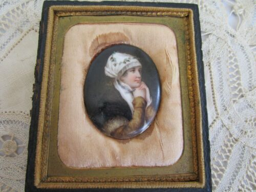 Victorian Porcelain Hand Painted Portrait Lady Original Half Box Framed