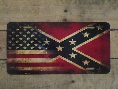 REBEL CAR TAG METAL ALUMINUM CAR LICENSE PLATE TAG. AMERICAN FLAG