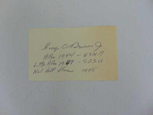 """RARE! """"Navy Football HOF"""" George Cummings Brown, Jr Signed 3X5 Card Mueller COA"""