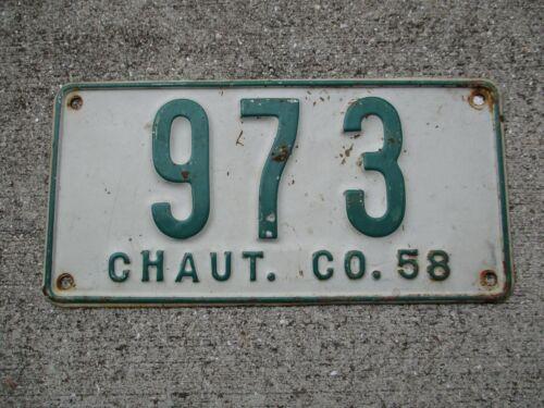 New York Chautauqua co. 1958 license plate #  973