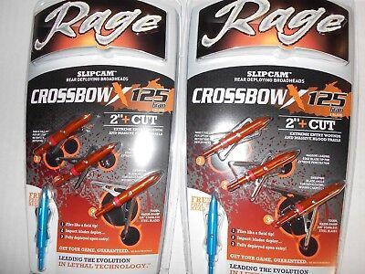 "@NEW@ 2 Rage Crossbow X Broadheads! 2"" Cut/100 Grain/Expandable crossbowX"
