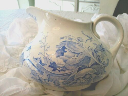 SAINT-AMAND Antique French Blue Transferware Ironstone ANEMONE PITCHER Floral