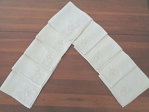 """Collection of 9 100% linen 17""""napkins  highly detailed natural color Initialed"""