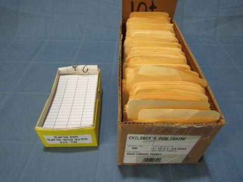 300 Plain Manila Library Book Card Pockets & Date Due Slips Lot - no adhesive  L
