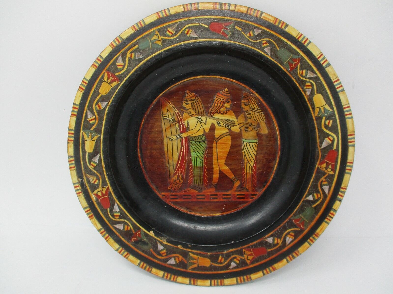 "Vintage Egyptian Ornate Inlaid Wood 8"" Hanging Plate"