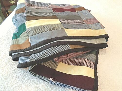 Exceptional Antique Hand made wool patchwork quilt