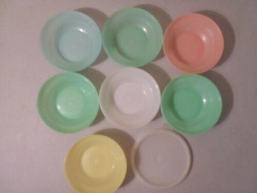 TUPPERWARE 7 #154 Bowls w/ 1 #215 Seal Lid Fruit Berry Pastel Dessert VTG 8 lot