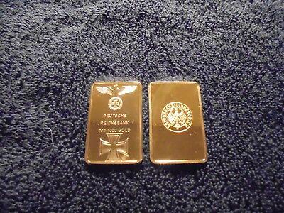 1 Troy Oz 24k German Gold Clad Bar Iron Cross WW2 w/ Airtight case