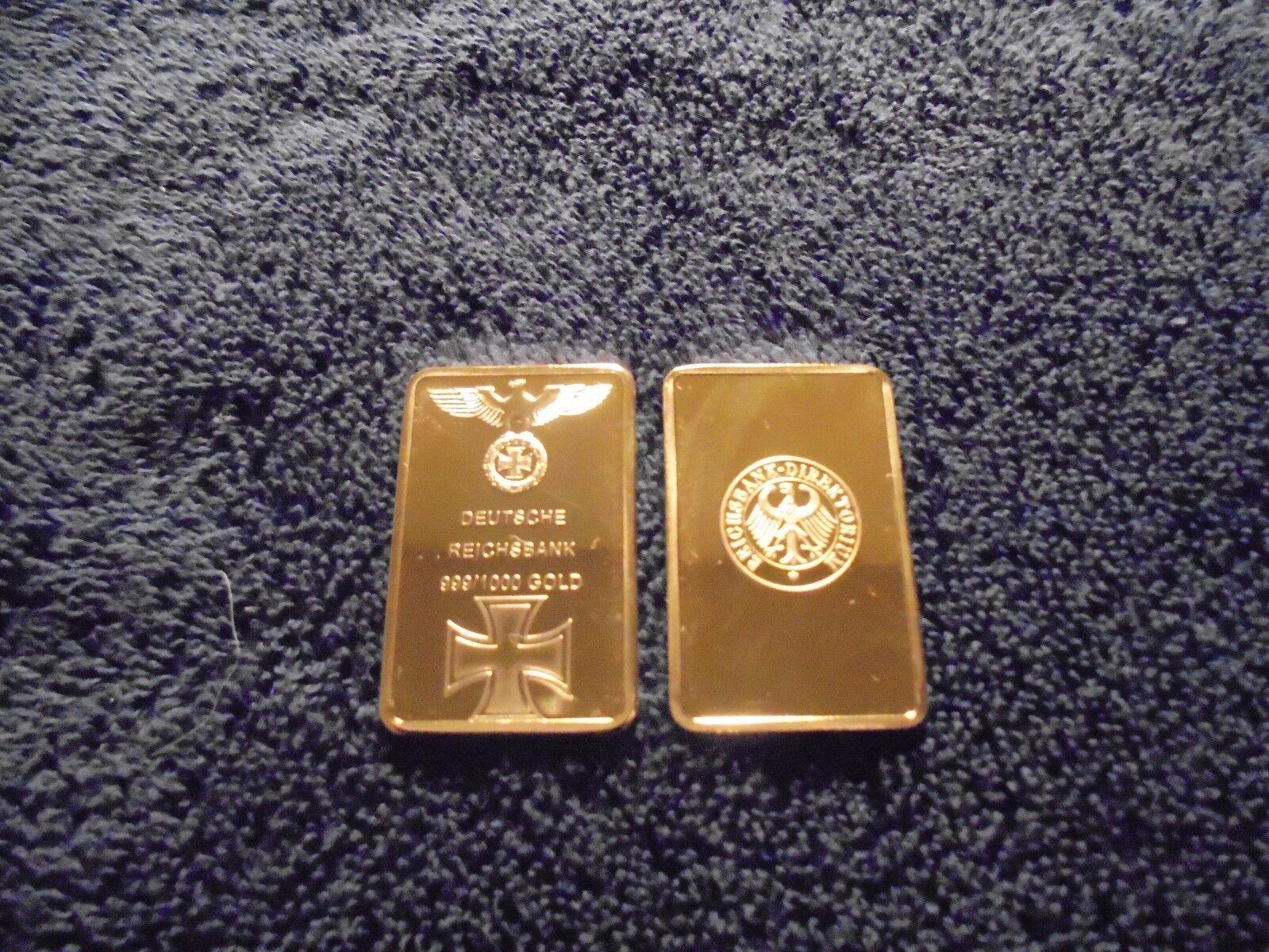 1 Troy Oz 24k Nazi Germany Gold Clad Bar Iron Cross WW2 w/ Airtight case