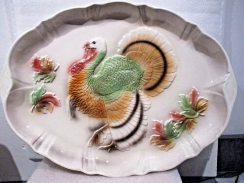 "1958<> Large Thanksgiving Ceramic Turkey Platter 20"" X 15""  <>  USA"