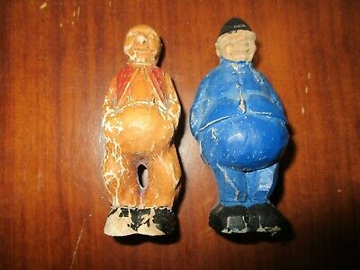 "Vintage Hand Carved Wood Folk Art Old Man AND POLICEMAN PAINTED 3 1/8"" OLD TOYS"