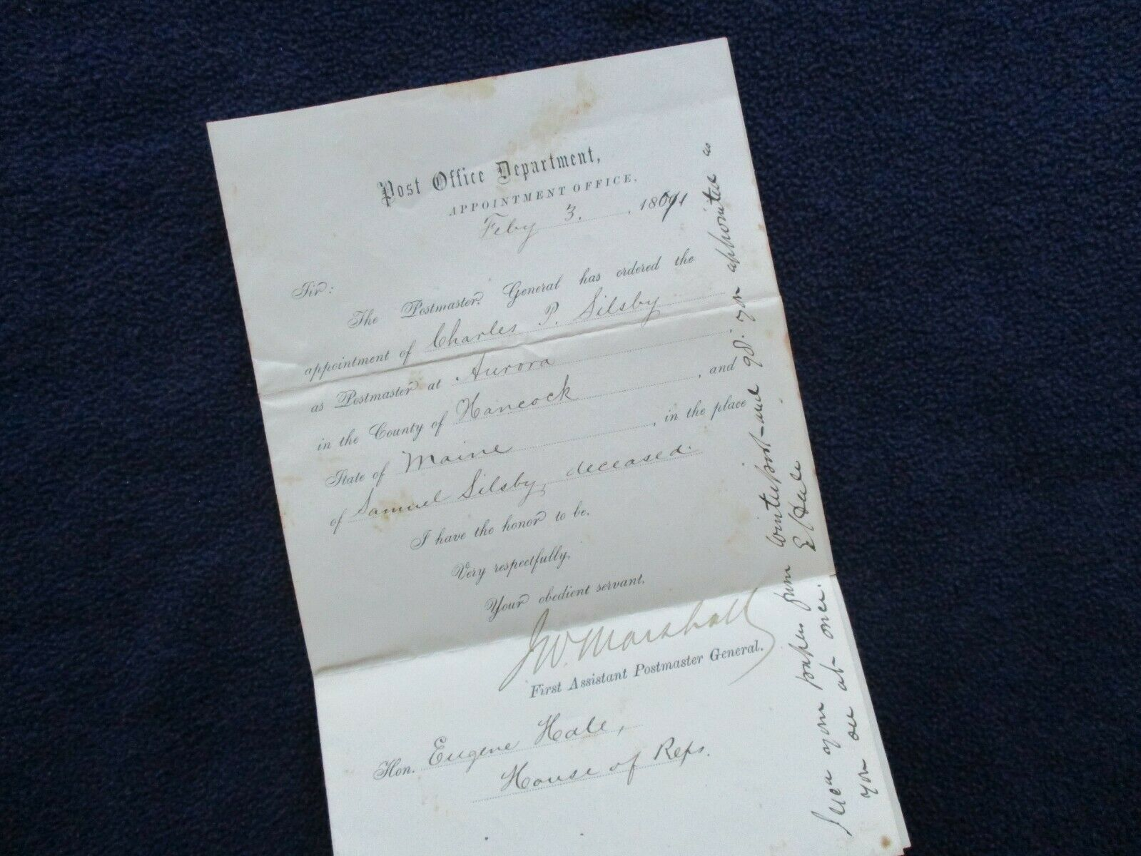 1871 James W. Marshall 1st Postmaster Hale Lincoln s Cabinet Signed Letter - $49.99