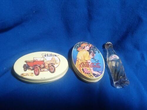 Lot 2 Vintage Tin Pill Boxes Coca-Cola and Hudson 1913  PLUS mini Pepsi bottle!
