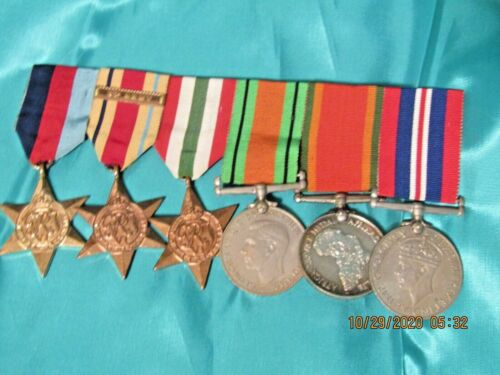 WWII ENGLISH MEDAL BAR! 8TH ARMY! DESERT RATS! TOBRUK! NORTH AFRICA! ALL NAMED!