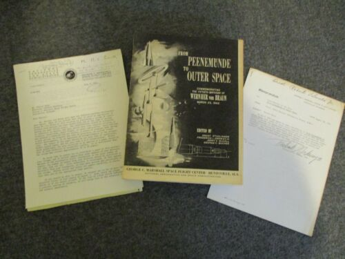 NASA MSFC FROM PEENEMUNDE to OUTERSPACE BOOK STUHLINGER+ORDWAY SIGNED MEMO ORIG.