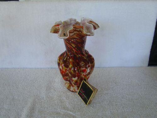 Vintage Fenton VASA  MURRHINA [ MULITI-COLOR ]  Autumn Melon Vase + Ruffled Rim!