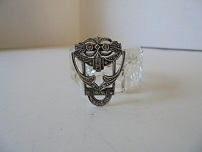 Vintage Art Deco Sterling Silver Marcasite Dress/Scarf Clip