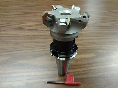 3 45 Degree Indexable Face Shell Mill W. Cat40 Arborface Milling Cutter-new