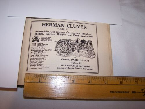 1917 HERMAN CULVER John Deere Dodge Chevrolet Ad CISSNA PARK ILLINOIS - Lot 183