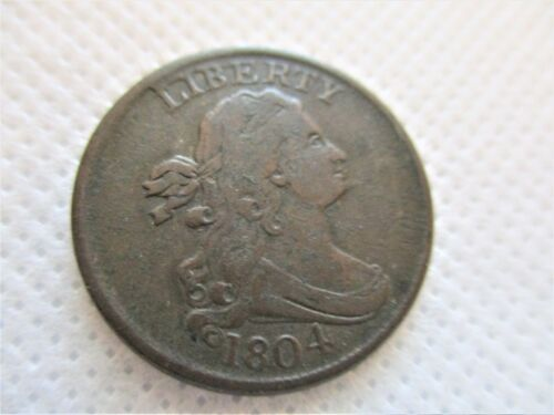 1804 DRAPED BUST CROSSLET 4  STEMS SPIKED CHIN HALF CENT COIN  Great Coin!