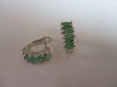 Gorgeous Sterling Silver Emerald Earrings 6 Real Oval Cut Emeralds 925 Silver