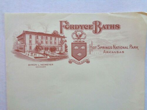 Vintage Stationery FORDYCE BATH HOUSE Hot Springs Arkansas 1920s Architecture