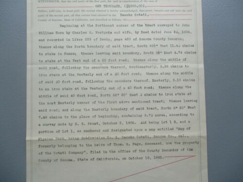"""1918 """"Petaluma,Rancho Cotate,California $1000 in Gold coin for land"""" signed deed"""
