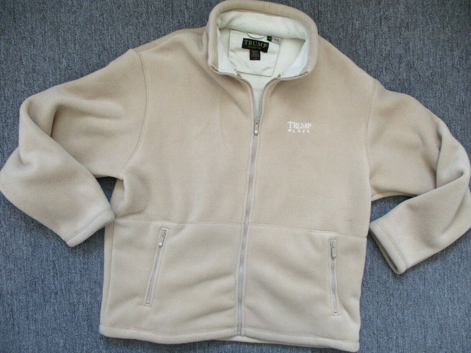 Unisex Trump Plaza Tan Soft Fleece Zip Up Jacket Size L