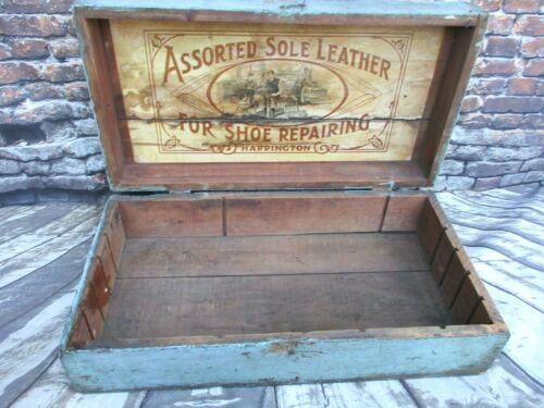 Antique Trunk / Flat Top Chest Crate Original Blue Paint w Harrington Leather Ad