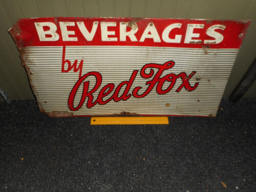 RED FOX Beverages Pressed Metal Soda Advertising Sign Providence RI 1940-50