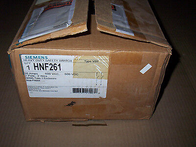 New Siemens Hnf261 30 Amp 600v 1ph Non Fusible Safety Switch Disconnect Shelf