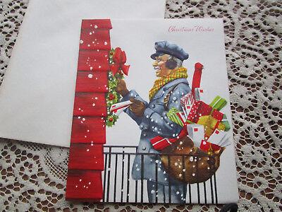 Vtg Famous Artists Studios MAILMAN Christmas Card SNOWY Day at Door UNUSED ()