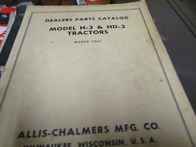 Allis Chalmers H-3 Hd-3 Tractors Parts Catalog Manual